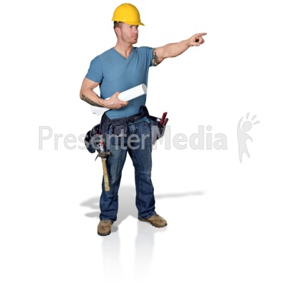 Construction Man Blueprint Point Presentation clipart