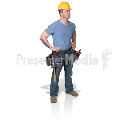 Construction Man Looking To Side Presentation clipart