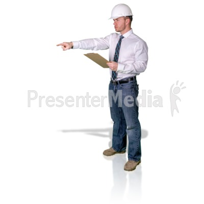 Foreman Pointing With Clipboard Presentation clipart