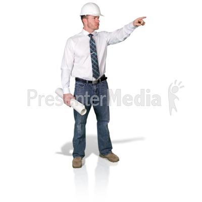 Foreman Pointing With Blueprint Presentation clipart