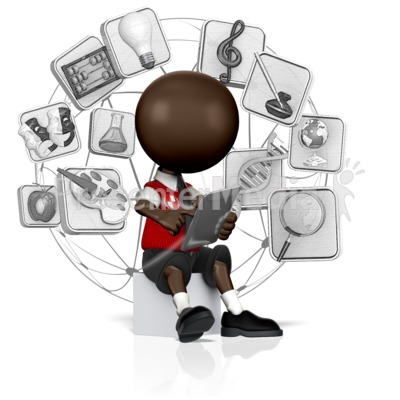 School Student Searching Tablet Presentation clipart