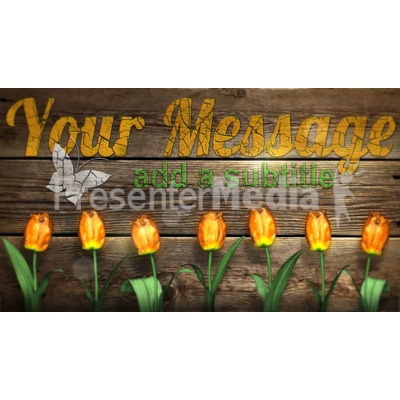 Custom Rustic Wood With Flowers Presentation clipart
