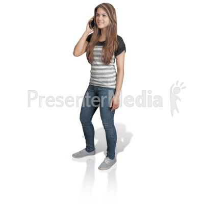 Young Girl Talking Cell Phone Presentation clipart