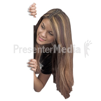 Young Woman Behind Blank Wall Presentation clipart