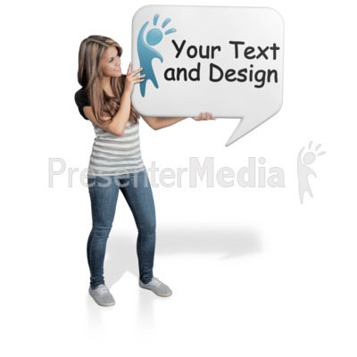 Young Woman Hold Word Balloon Presentation clipart
