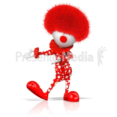 Clown Gesturing To Side Presentation clipart