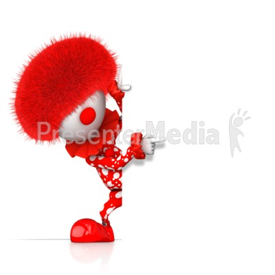 A Pointing Clown Pops Out From Behind Presentation clipart