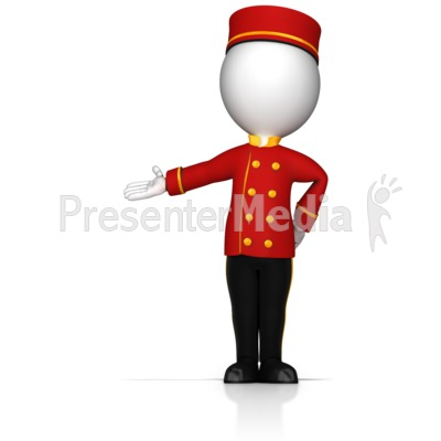 Bell Hop Gesture to the Side Presentation clipart