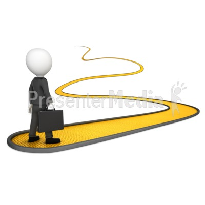 Business Man On Golden Path Presentation clipart