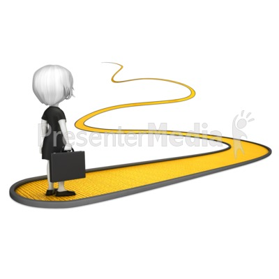 Business Woman on Golden Path Presentation clipart