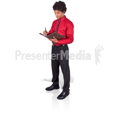 Young Man Taking Notes Presentation clipart