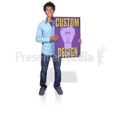 Young Man Hold Sign Presentation clipart