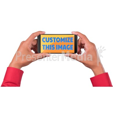 Man Hold Smart Phone Custom Presentation clipart