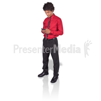 Young Man Texting Phone Presentation clipart