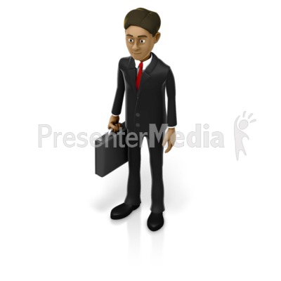 Business Man Holding Briefcase Presentation clipart