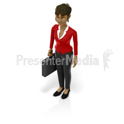 Business Woman Holding Briefcase Presentation clipart