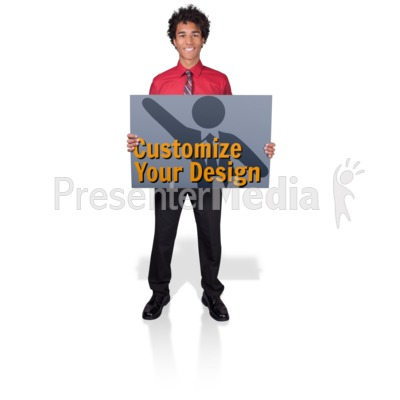 Young Business Man Hold Sign Presentation clipart