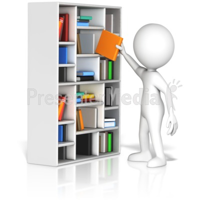Figure Pulling Book From Shelf Presentation clipart