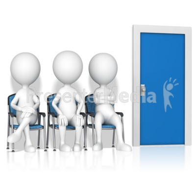 Figures Waiting By Door Presentation clipart