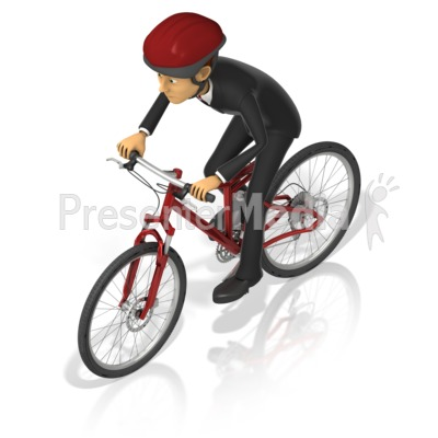 Business Man Bicycle Presentation clipart
