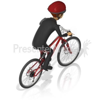 Business Man Bicycle Back Presentation clipart