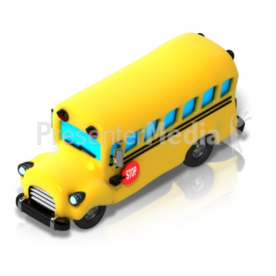 School Bus Isometric front view Presentation clipart