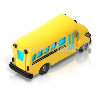 School Bus Isometric back view Presentation clipart