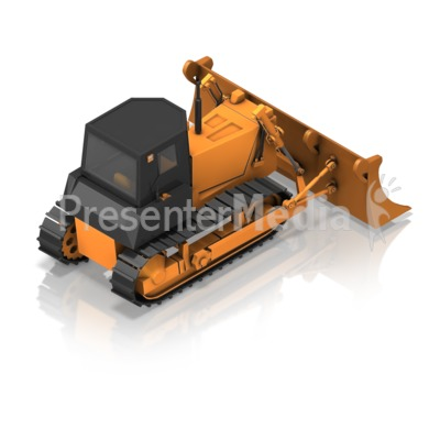 Bulldozer Back Isometric Presentation clipart