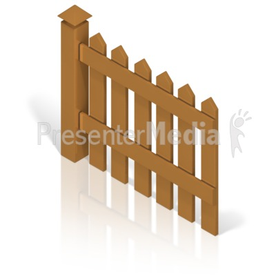 Picket Fence With Post Color Back Presentation clipart