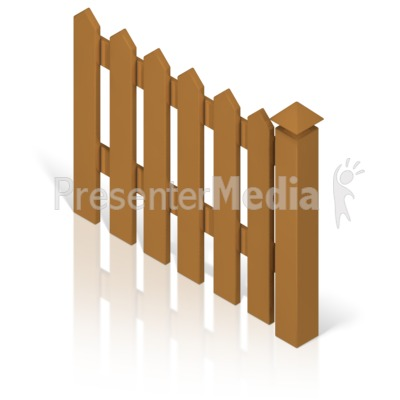Picket Fence With Post Color Presentation clipart