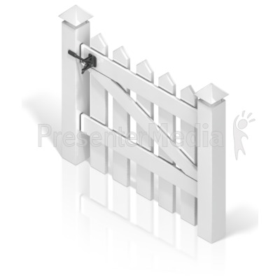 Picket Fence Gate Back Presentation clipart