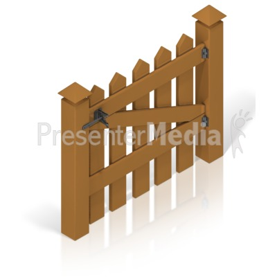 Picket Fence Gate Color Back Presentation clipart