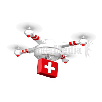 Drone Carrying Medical Supplies Presentation clipart