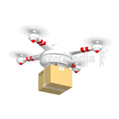 Drone Carrying Delivery Box Presentation clipart