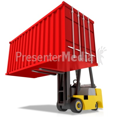 Forklift Carry Heavy Container Presentation clipart