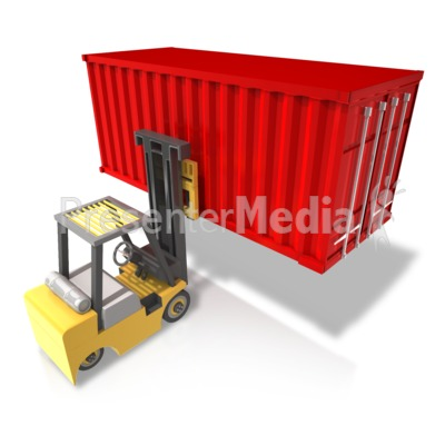 Forklift Carry Heavy Container Rear Presentation clipart