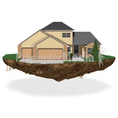 House On Chunk Of Land Presentation clipart
