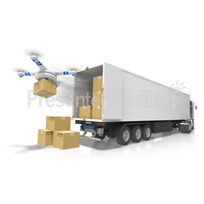 Semi With Drone Delivery Presentation clipart