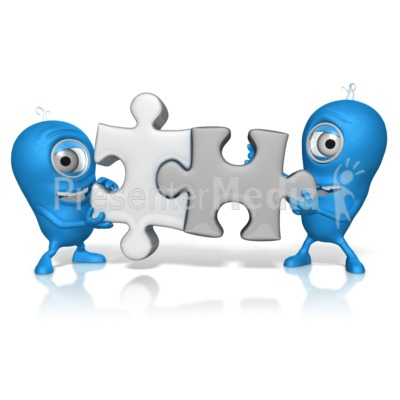 Characters Put Puzzle Pieces Together Presentation clipart