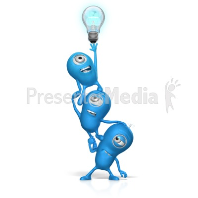 Teamwork Reach For Light Bulb Presentation clipart