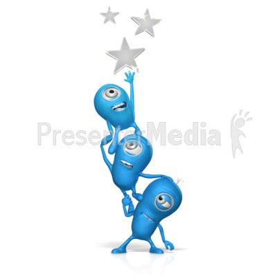 Teamwork Reach For The Stars Presentation clipart