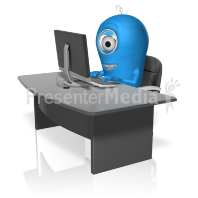 Character At Computer Presentation clipart