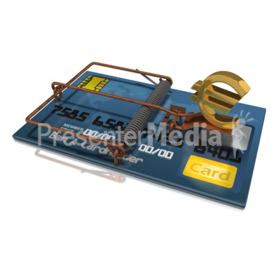 Credit Card Trap Euro Presentation clipart