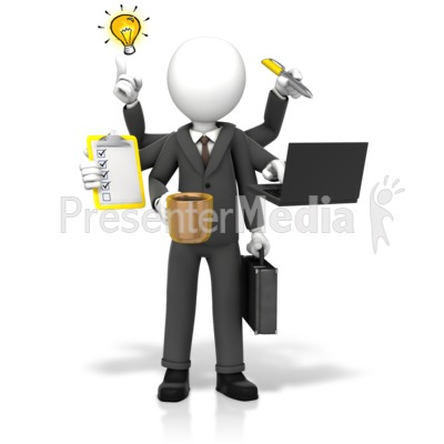 Businessman Multi Tasking Presentation clipart