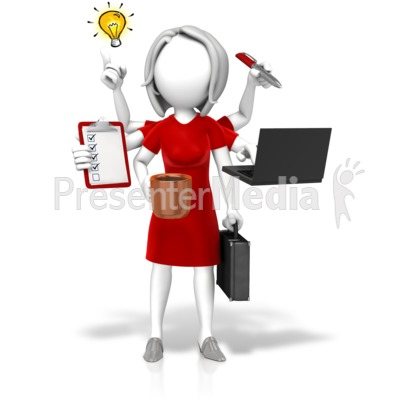 Businesswoman Multi Tasking Presentation clipart