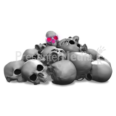 Spooky Pile Of Skulls Illuminate Presentation clipart