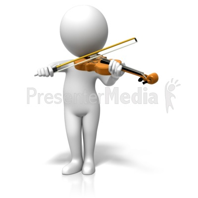 Figure Playing Violin Presentation clipart