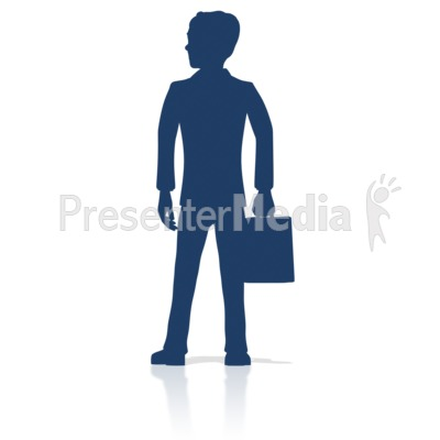 Business Man Stand Silhouette Presentation clipart