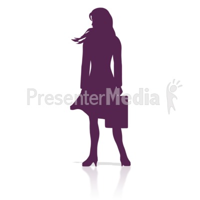Business Woman Stand Silhouette Presentation clipart
