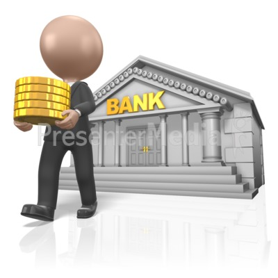 Figure Carry Gold From Bank Presentation clipart